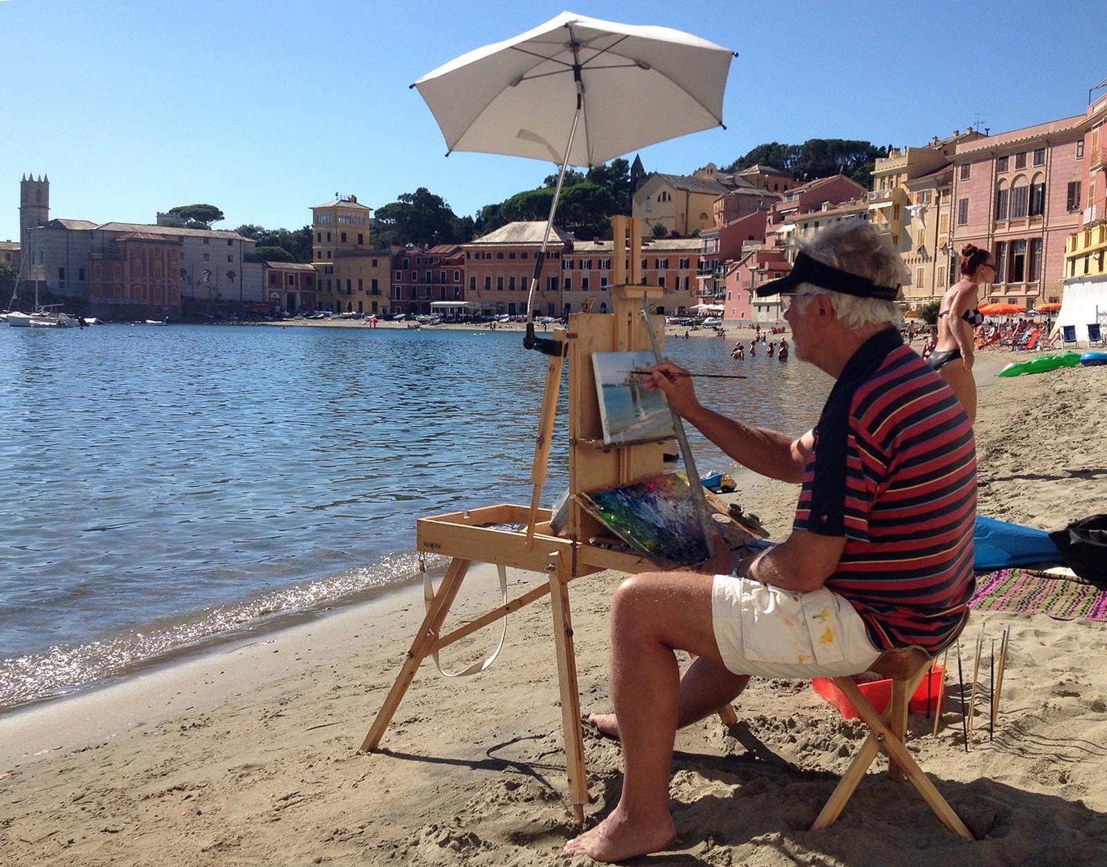 John Kristensen maler ved Middelhavet